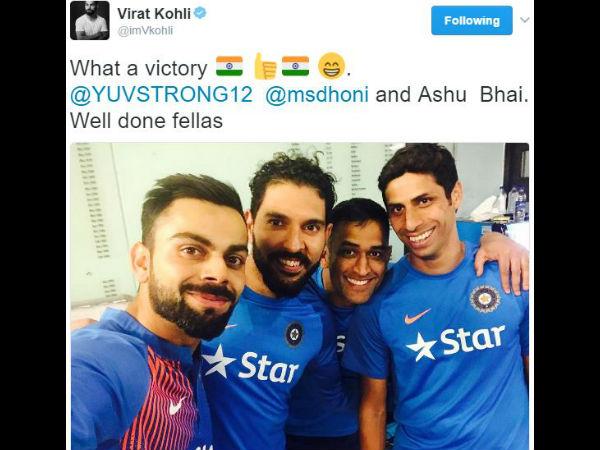 Virat Kohli Shares Adorable Selfie With Veterans Dhoni Nehra And Yuvraj