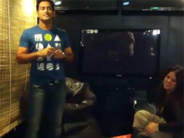 Ms Dhoni Dances On Desi Boyz Wife Sakshi Cannot Stop Laughing Watch Video