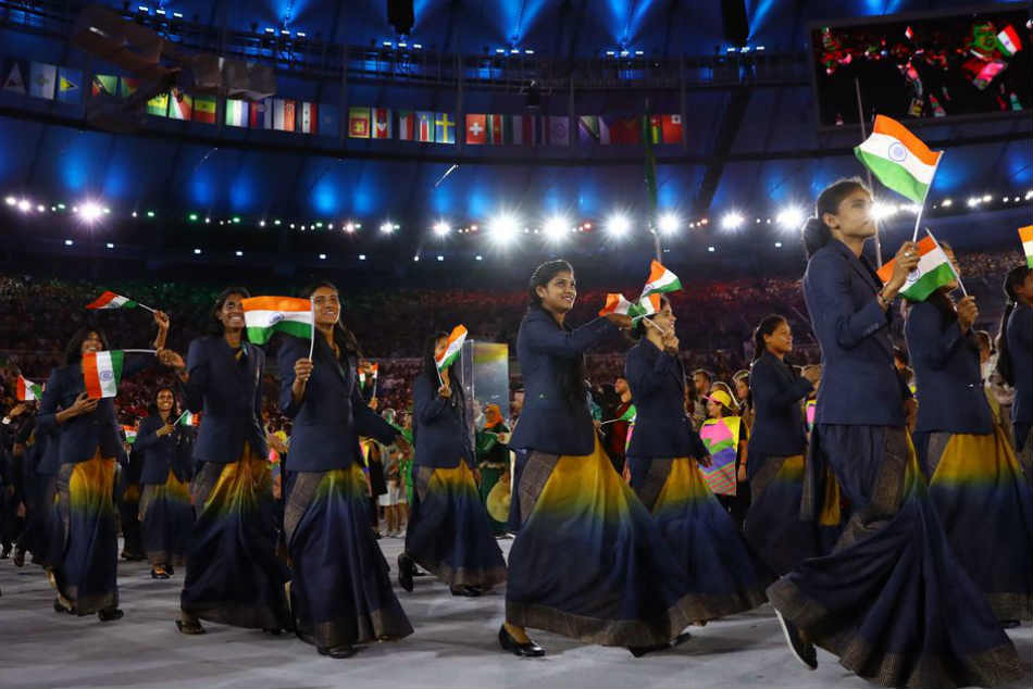 No Saree India Women Athletes Wear Trousers Blazer At Cwg 2018 Opening Ceremony