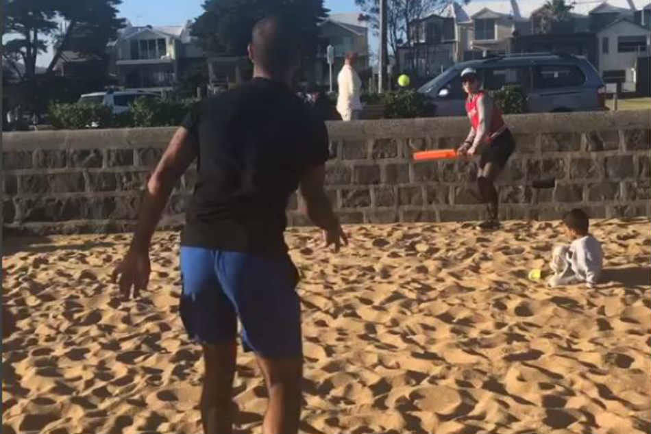 Watch: Shikhar Dhawan plays beach cricket with his wife and kids