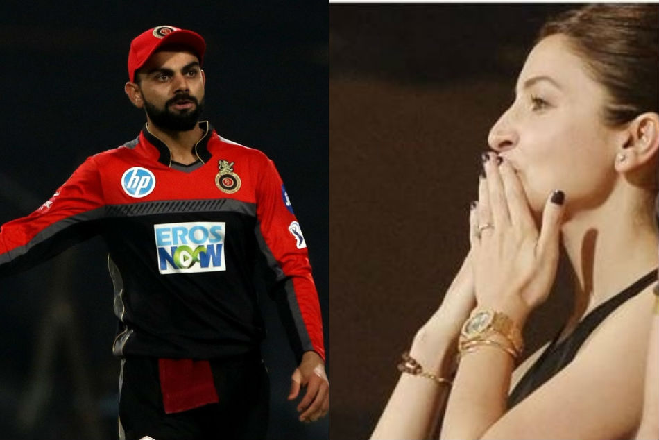 Anushka Sharma blows a flying kiss to Virat Kohli during Indian Premier League