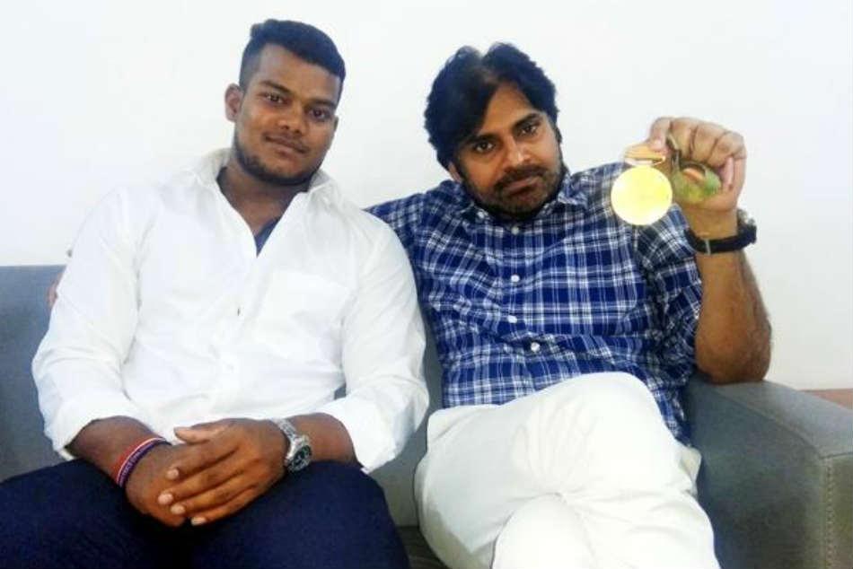 Janasena Chief Pawan Kalyan Meets Commonwealth Gold Medalist Venkat Rahul Ragala
