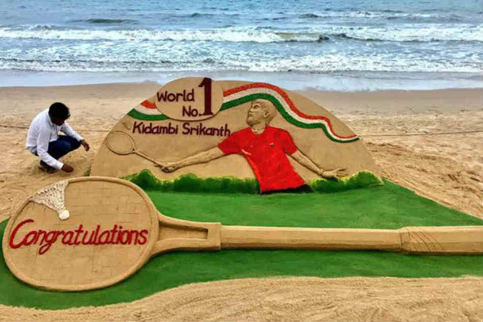 Sand Artist Sudarsan Pattnaik Congratulates Kidambi Srikanth With Sand Art