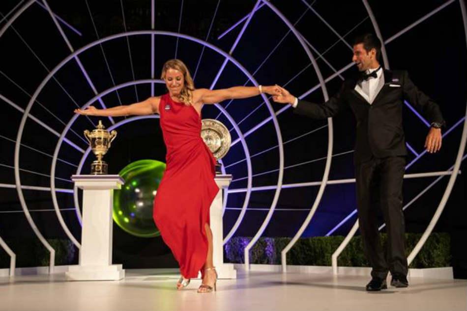 Watch Novak Djokovic Angelique Kerber Set Floor On Fire With Champions Dance