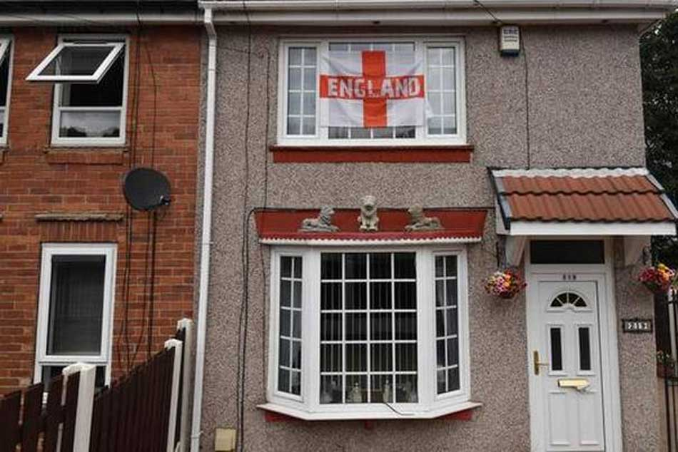 England flags decorate houses in Sheffield, northern England