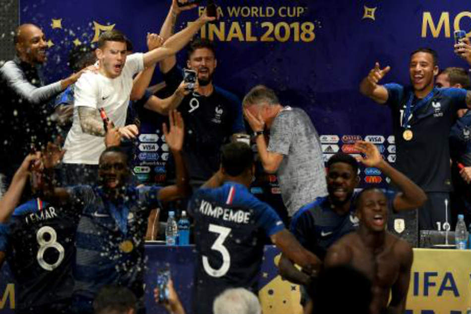 Celebrating French players crash coachs post-match press conference video