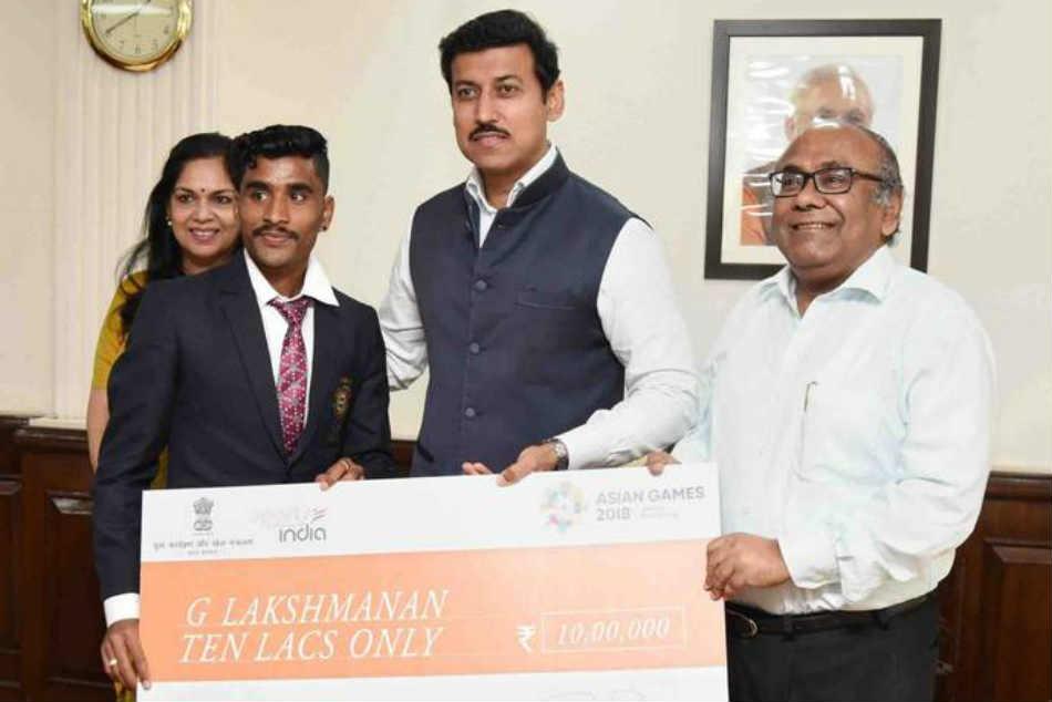 Rajyavardhan Rathore Rewards Rs 10 Lakh Cheque Disqualified Athlete