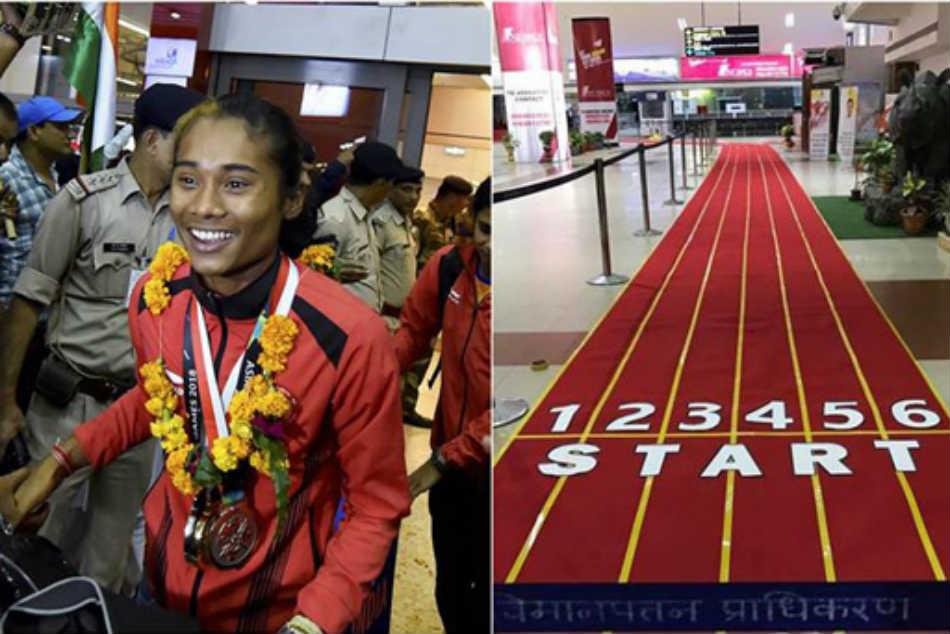 Hima Das Braced Unique Welcome At Guwahati Airport