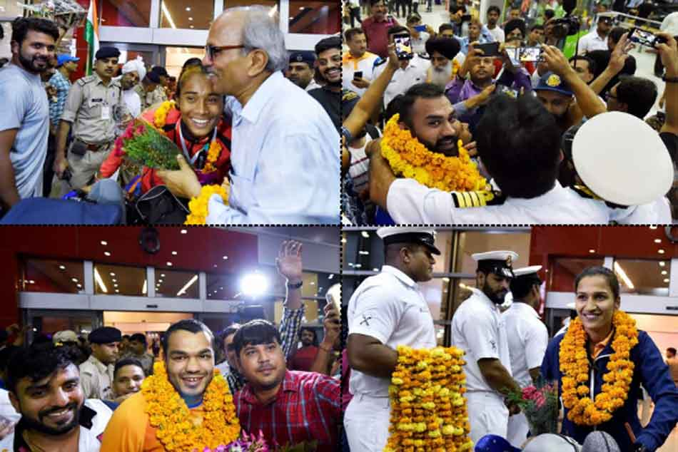 Asian Games 2018 Medal Winners Get Warm Welcome At Delhi S Igi Airport
