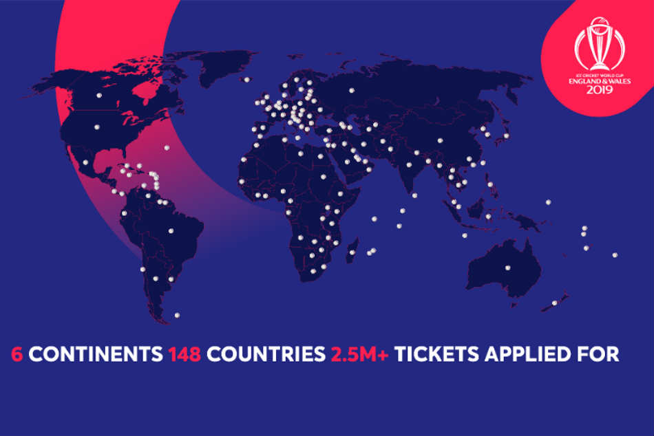 Over 2.5 million applications made for 2019 Cricket World Cup tickets, ICC reveal