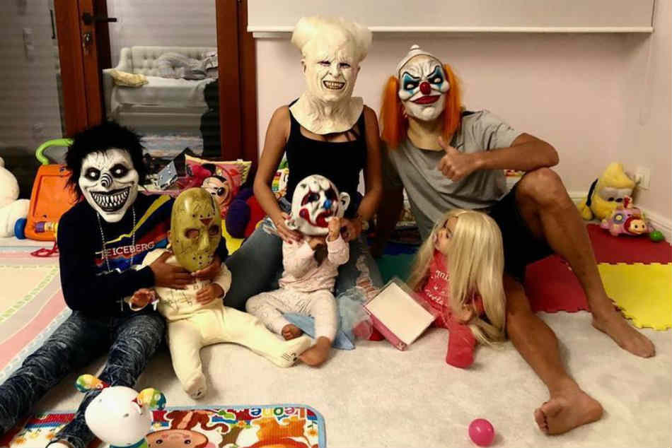 Cristiano Ronaldo dresses up as scary clown as he celebrates Halloween in style