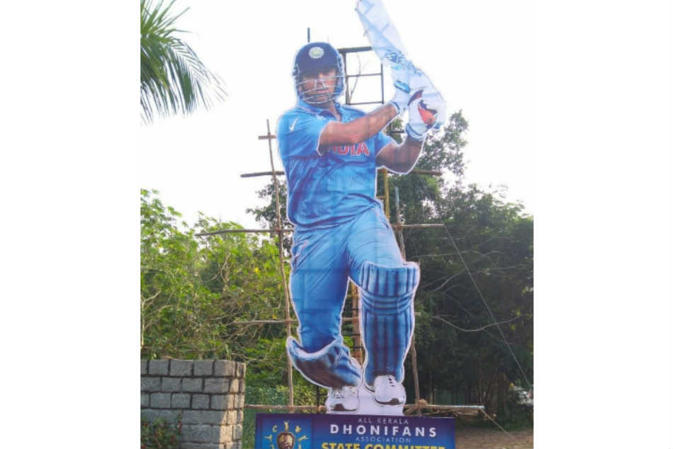 Fans Erect 35 Foot Cut Out Ms Dhoni Tribute Ahead 5th Odi In Trivandrum