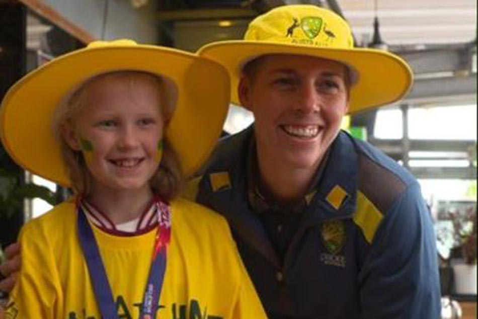 Young Gracie and her dad jumped on a last-minute flight from Canberra this morning to see her heroes