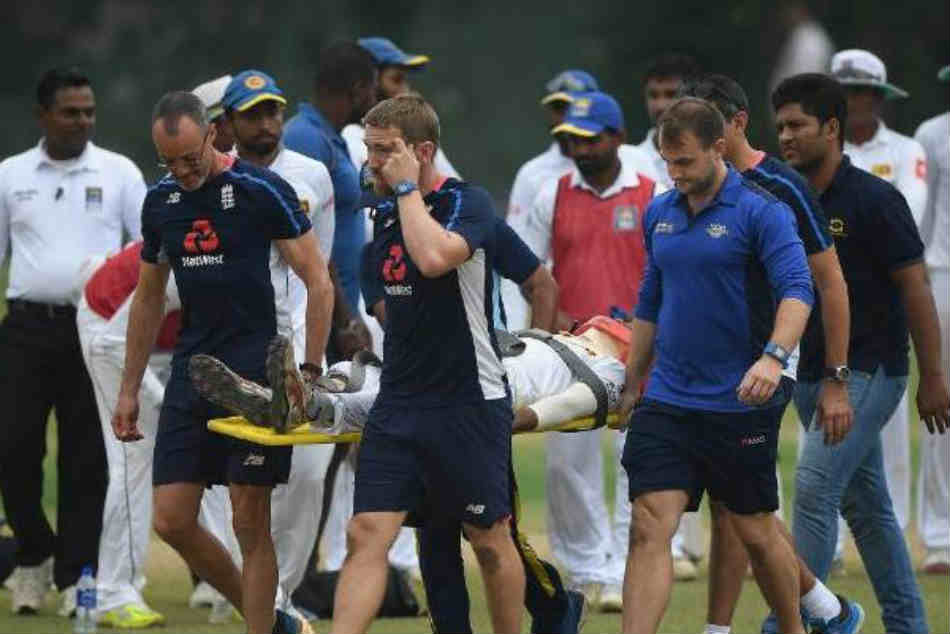 Sri Lankan Player Struck On Helmet Warm Up Game Vs England
