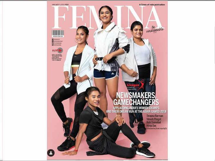 Hima Das Vinesh Phogat Swapna Barman Rahi Sarnobat Grace Magazine Cover