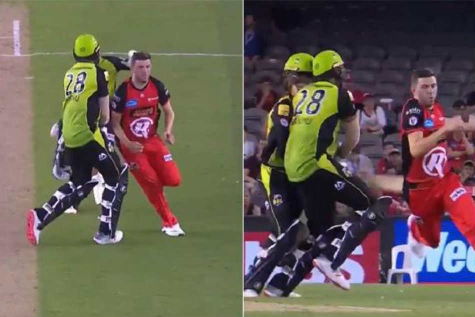 WATCH: Players run into each other as BBL clash between Thunder, Renegades witnesses a comical run-out