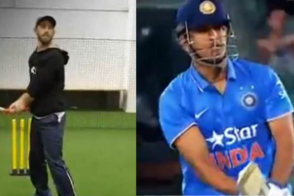 Watch Glenn Maxwell Makes Perfect Impression Ms Dhoni S Helicopter Shot
