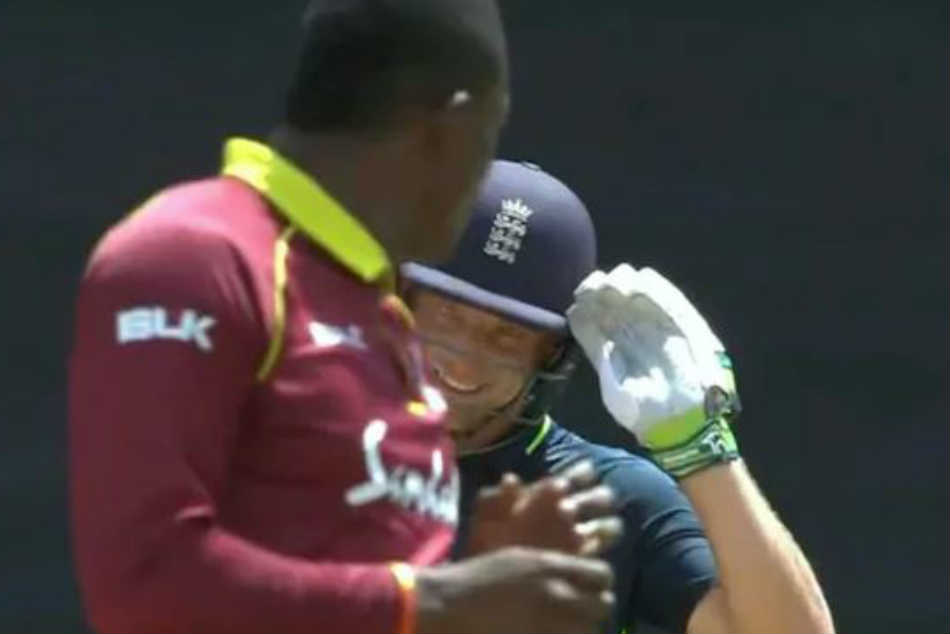 Jos Buttler Wallops Sheldon Cottrell Six Gives Him Salute Watch