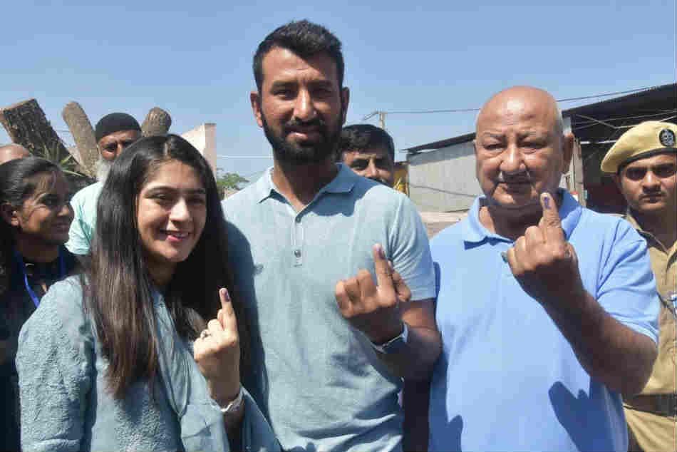 Lok Sabha Elections 2019 Cricketer Cheteshwar Pujara Cast His Vote In Rajkot
