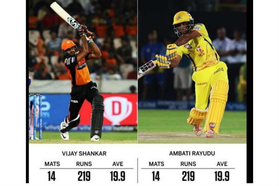 Ambati Rayudu And Vijay Shankar End Ipl 2019 League Stage With Same Batting Numbers