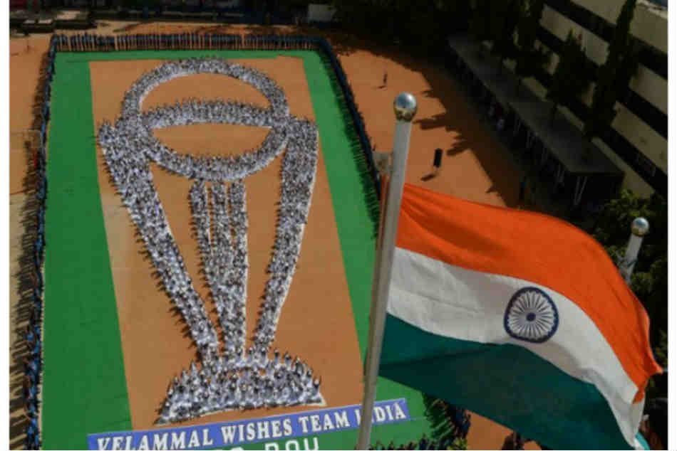 ICC Cricket World Cup 2019, International Yoga Day 2019: Chennai school students make formation of ICC World Cup trophy to cheer for India