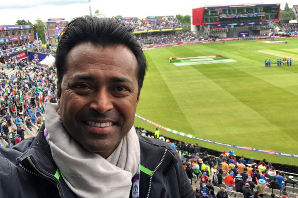 Leander Paes Cheers For Team India From The Stands At Old Trafford