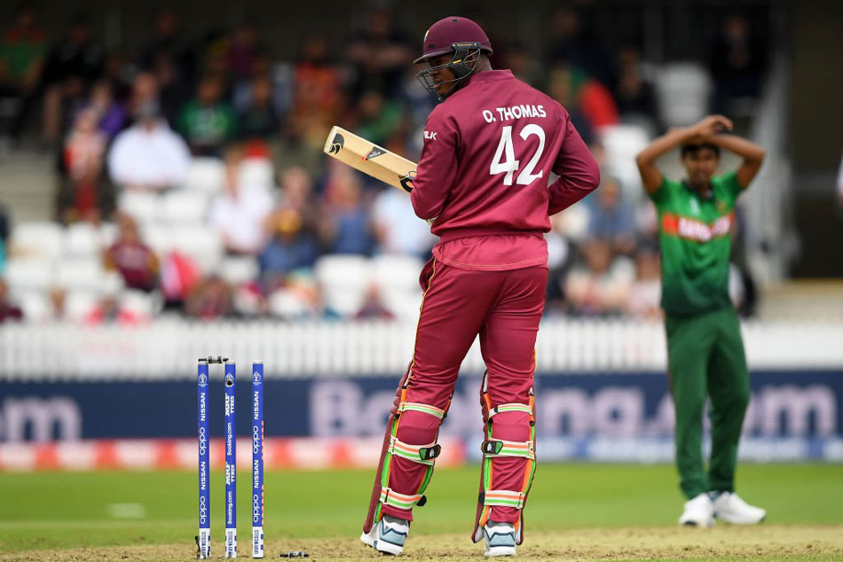 CWC 19, West Indies vs Bangladesh: Oshane Thomas is given NOT OUT despite hitting the wickets with his bat