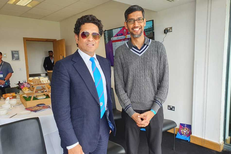 CWC 19: India vs England: Google CEO Sundar Pichai meets Sachin Tendulkar At Edgbaston, Birmingham