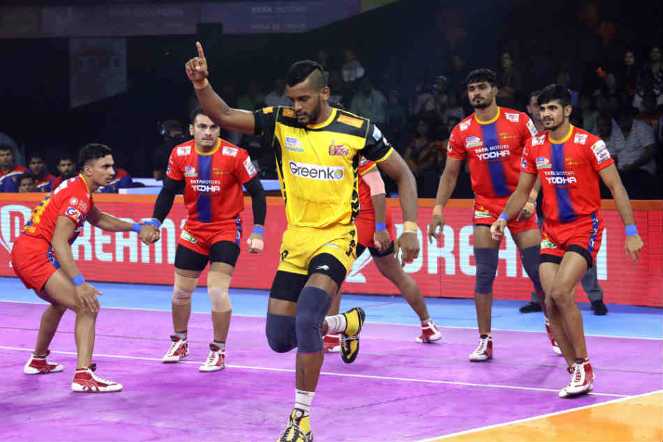 Telugu Titans And U P Yoddha Play Out The First Tie Of Season 7