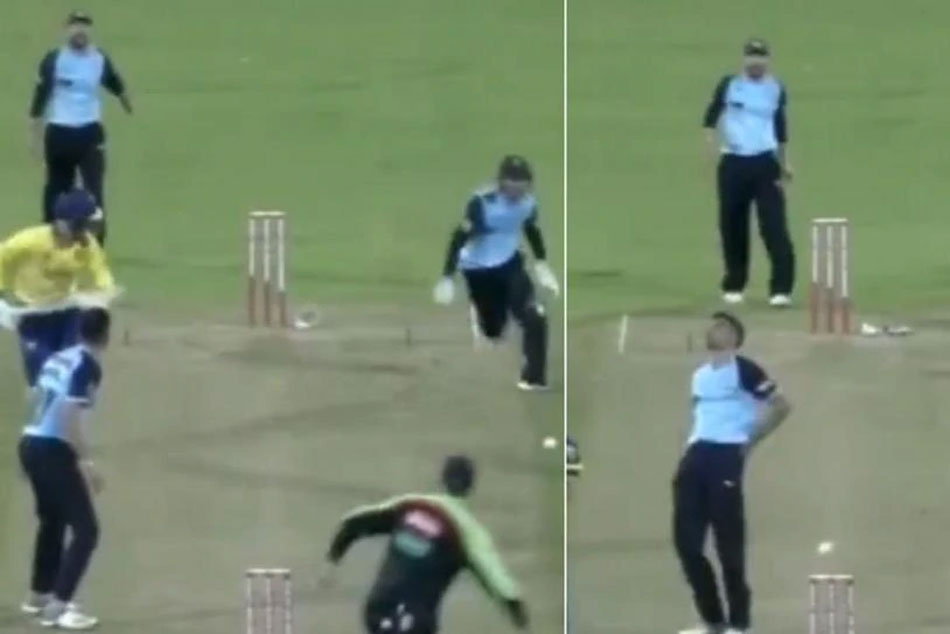 Wicket Keeper Hits Bowler While Attempting A Run Out In T20 Blast
