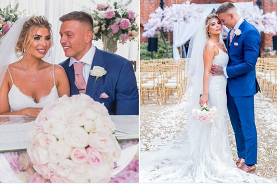 Olivia Buckland and Alex Bowen strip totally naked to celebrate their one year wedding anniversary