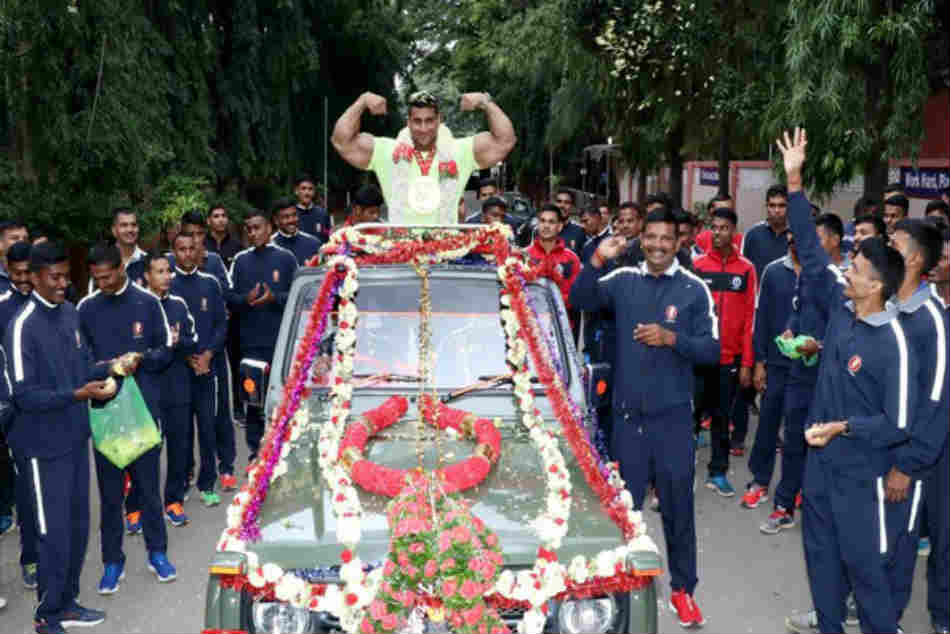 Bodybuilding Gold Medalist Havildar Anuj Kumar Comes Home To Thunderous Welcome