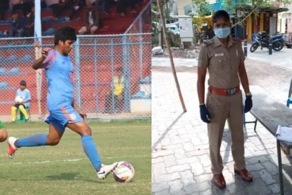India Senior Women Football Midfielder Indumathi Plays For Nation Wearing Police Uniform