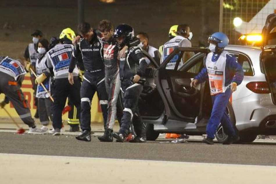 Haas Driver Romain Grosjean Escapes With Minor Burns After Horror Crash At Bahrain Grand Prix