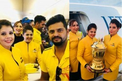 Ipl 2018 Chennai Super Kings Celebrate Title Win With Airplane Crew Visit Temple With Trophy