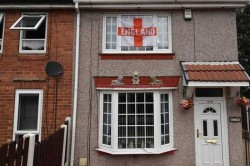 England Flags Decorate Houses Sheffield Northern England