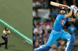 India Vs Australia Virat Kohli Whips Maxwell But Security Gaurd Picks Smart Catch