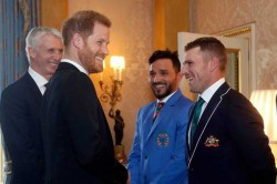 Cricket World Cup Prince Harry Sledge On Ausis Captain Aaron Finch At Buckingham Palace