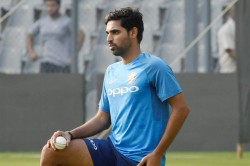 Indian Fast Bowler Bhuvneshwar Kumar Practices During An Indoor