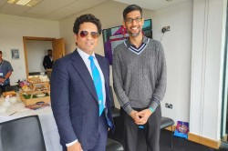 Cwc 19 India Vs England Google Ceo Sundar Pichai Meets Sachin Tendulkar At Eden Gardens