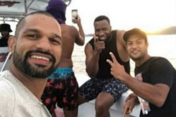 Shikhar Dhawan Mayank Agarwal Hang Out With Kieron Pollard In Port Of Spain Ahead Of 3rd Odi