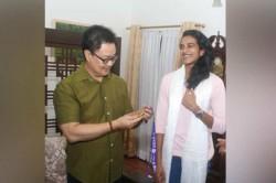 World Championship Pv Sindhu Meet Sports Minister Kiren Rijju