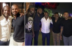 Rohit Sharma Shikhar Dhawan And India Teammates Enjoy Dinner At Brian Lara Home