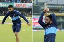 India Vs Sri Lanka Virat Kohli Imitates Harbhajan Singh S Bowling Action In Indore