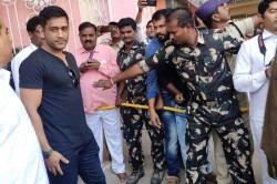 Legendary Cricketer Ms Dhoni Visits Puttaparthi Sri Sathya Sai Baba Temple