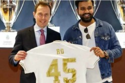 Real Madrid Present Rohit Sharma With Customised Jersey At Bernabeu