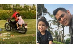 Watch Sakshi Shares Video Of Ms Dhoni S Bike Ride With Ziva