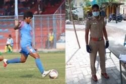 India Senior Women Football Midfielder Indumathi Plays For Nation Wearing Police Uniform