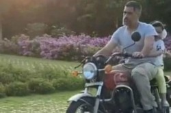 Ziva Gets A Bike Ride From Ms Dhoni Again Inside Their Ranchi Farmhouse