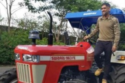 Ms Dhoni Adds A New Mahindra Swaraj Tractor To His Fleet Of Cars And Bikes